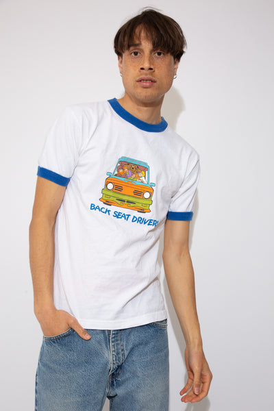 Scooby-Doo Back seat driver white tee with front graphic and blue cuffs and neckline. magichollow