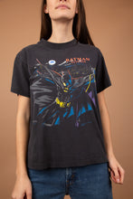 Load image into Gallery viewer, Faded black tee with a colourful vintage Batman print on the front, dated 1991 with 'Batman Returns' on the right chest.