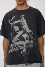 Load image into Gallery viewer, faded black tee with monochrome 'the who' graphic across front