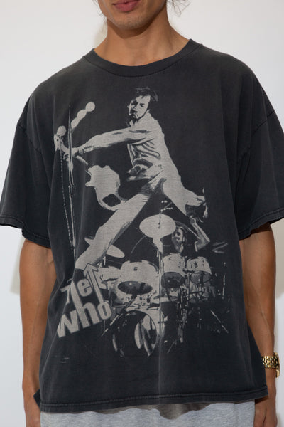 faded black tee with monochrome 'the who' graphic across front