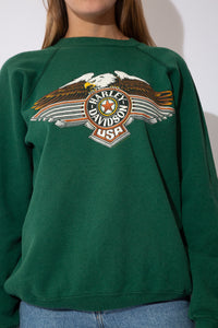 green sweater with Harley Davidson logos on the front and the back