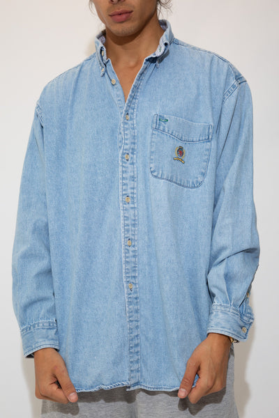 light-wash denim-look button up with embroidered tommy crest