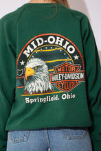 Load image into Gallery viewer, green sweater with Harley Davidson logos on the front and the back