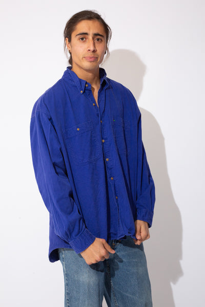 vibrant oversized purple button up
