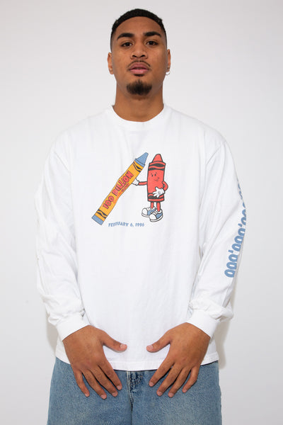 crayola longsleeve in a white colour-way. 90s vintage. magichollow.