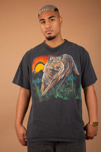 Load image into Gallery viewer, faded black single-stitch tee with epic wolf graphic on front and back