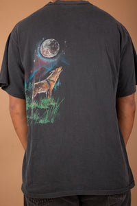 faded black single-stitch tee with epic wolf graphic on front and back