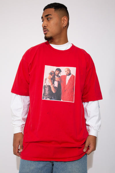 Red, with a large colour photograph print of Suge Knight, Snoop Dogg and 2Pac on the front.