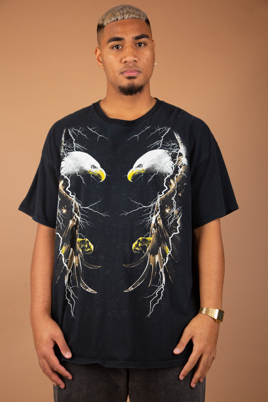 baggy black tee with epic eagle and lightning mirrored graphic on front
