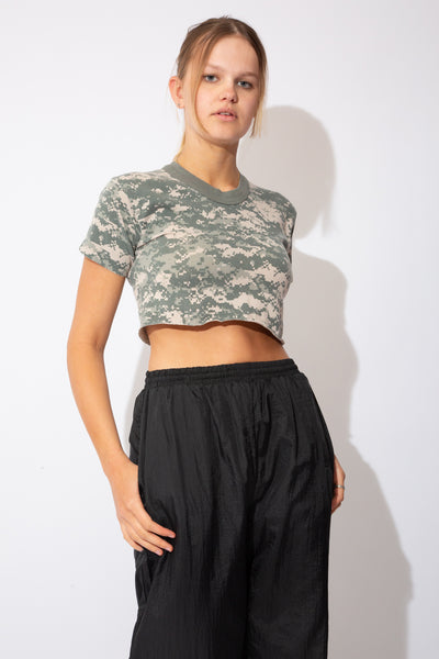 pixellated camo tee that has been cropped. grey and brown shades/