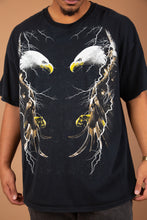 Load image into Gallery viewer, baggy black tee with epic eagle and lightning mirrored graphic on front