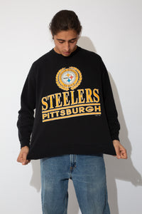 black crew with bold pittsburgh steelers spell-out and logo graphic