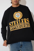 Load image into Gallery viewer, black crew with bold pittsburgh steelers spell-out and logo graphic