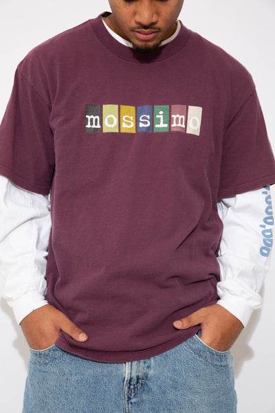 mossimo tee in a maroon colour-way. 90s vintage. magichollow.