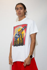 white tee with vibrant primary colour-toned bud ice graphic across front