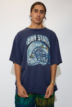 Load image into Gallery viewer, oversize navy tee with helmet graphic and penn state spell-out across front