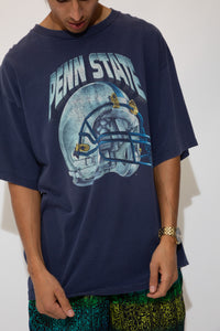 oversize navy tee with helmet graphic and penn state spell-out across front