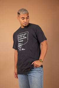 single stitch faded black tee with cute lil graphic with the text 'i dont want to do art, i want to be happy'