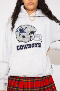 light grey hoodie with dallas cowboys graphic on the front. magichollow
