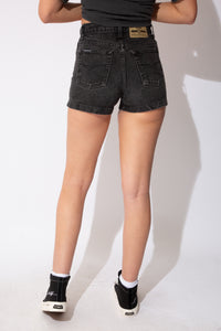 vintage black short shorts with jordache patch on the back, high waisted