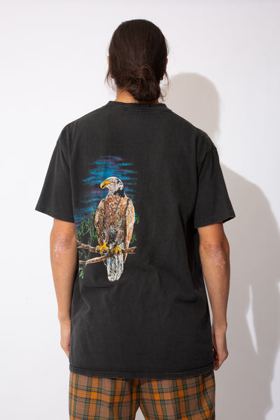 distressed faded black tee with cracked front and back eagle graphic