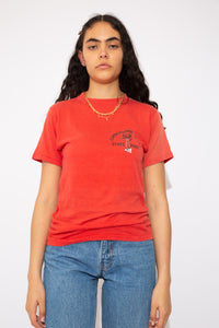 model is wearing a red that features the Cumberland falls state park on the front, the tee is a true to size fit.