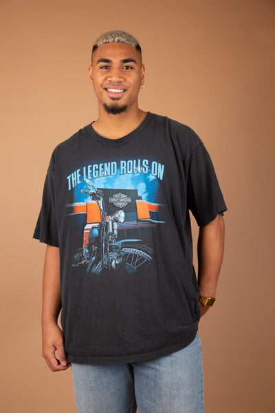 oversize black harley tee with sick orange and blue toned front and back graphic of motorcycle and engine