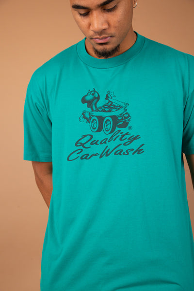 single-stitch teal tee with car wash text and graphic on front and 'outlaw 11' graphic on back