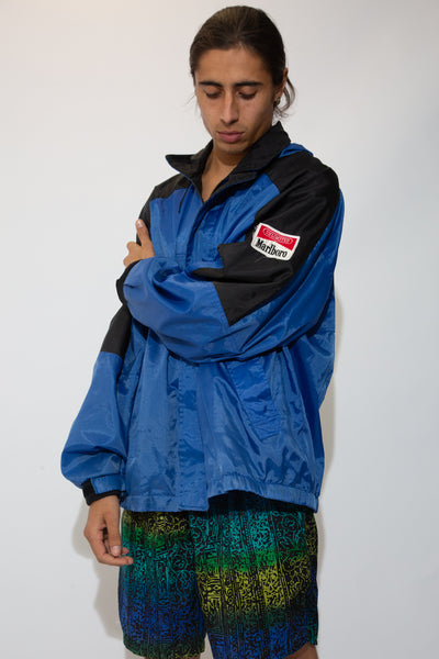 blue and black marlboro jacket/windbreaker with marlboro patch on left sleeve