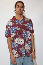 Load image into Gallery viewer, maroon polo with hawaiian style all-over print