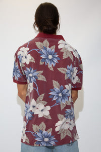 maroon polo with hawaiian style all-over print