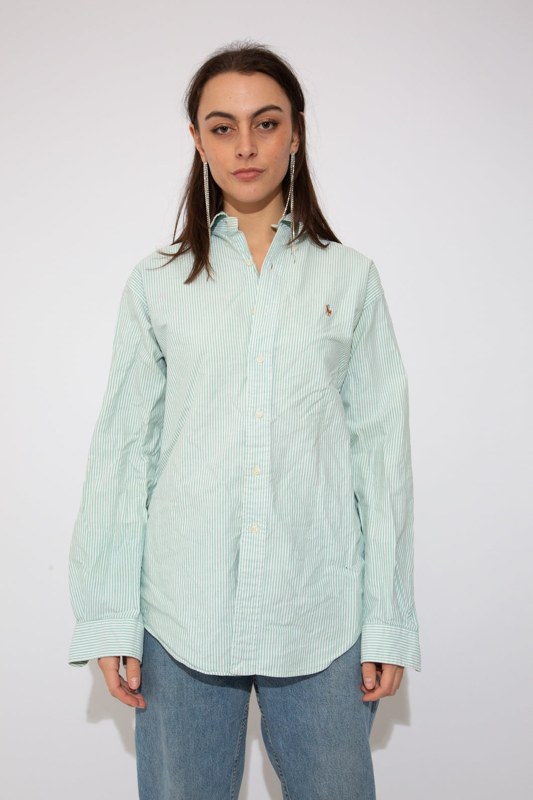Model wearing Ralph Lauren button up shirt, magichollow
