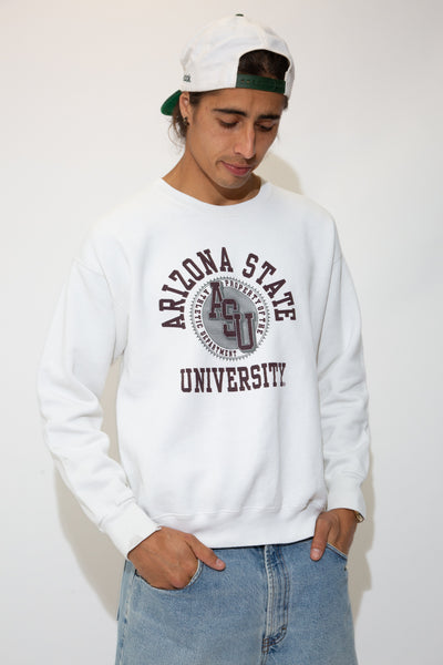 white crew with maroon arizona uni spell-out and graphic on chest