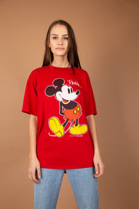 This red top has a large Mickey Mouse print on the front with Florida written at the top. 'The Walt Disney Company' is printed in small print at the bottom.