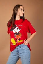 Load image into Gallery viewer, This red top has a large Mickey Mouse print on the front with Florida written at the top. 'The Walt Disney Company' is printed in small print at the bottom.
