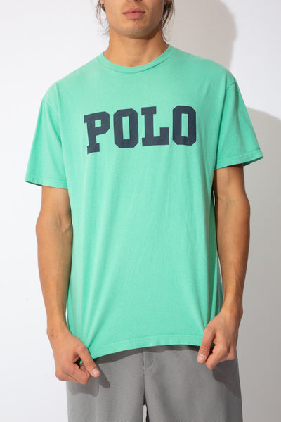 seafoam green tee with large polo spell-out across chest