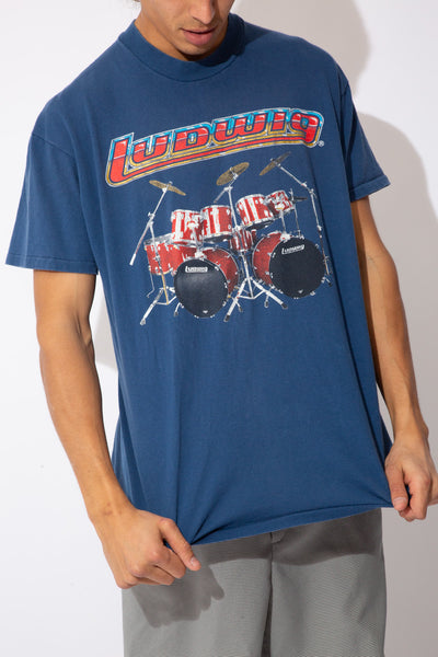 faded navy tee with drum graphic and ludwig spell-out across front and large text graphic across back