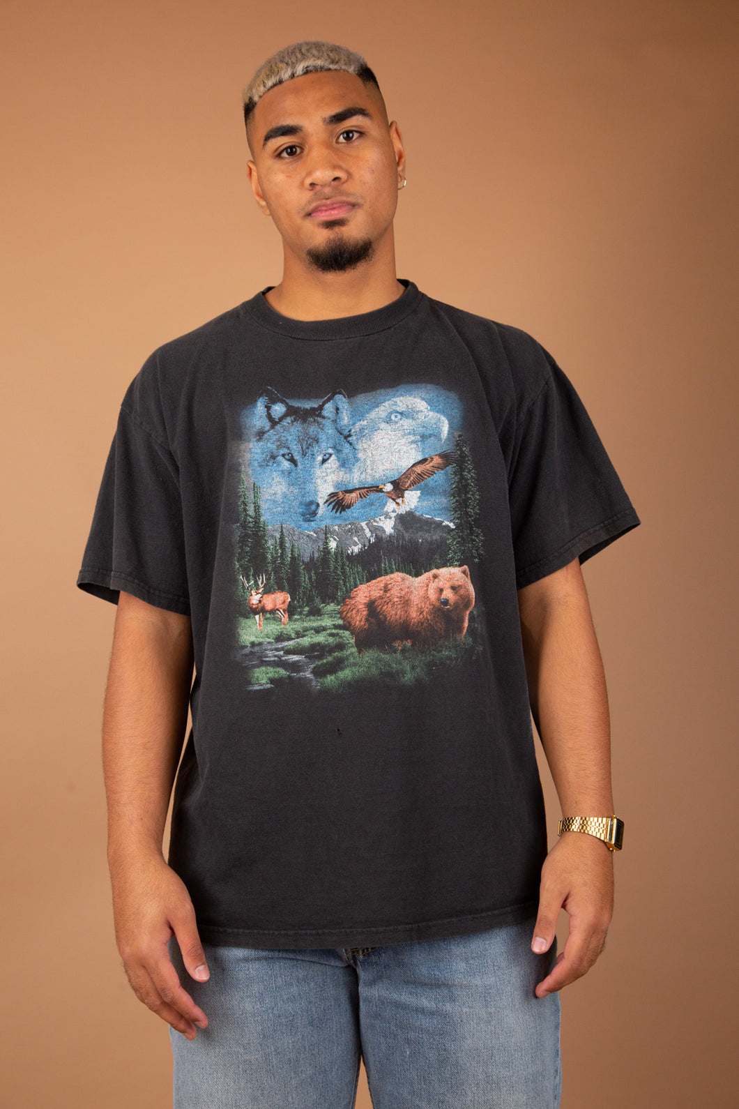 faded black tee with front and back animal graphic - vintage from magichollow