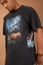 Load image into Gallery viewer, faded black tee with front and back animal graphic - vintage from magichollow