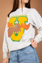 Load image into Gallery viewer, Grey in colour, this vintage sweater has a giant yellow and green 'U' print on the front with Bullwinkle J Moose from 'Rocky and his friends.' Whatsamatta printed above with small writing detail on bottom left of jumper.