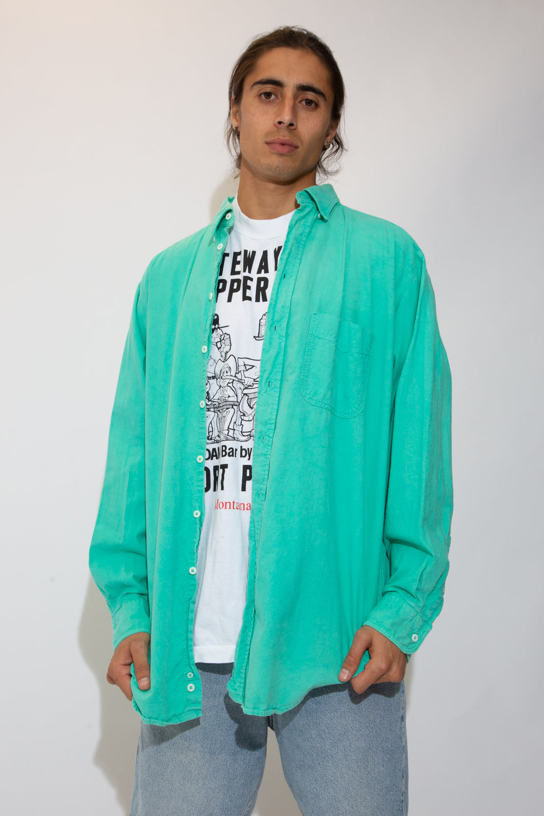 teal button up