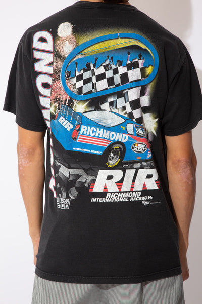 black tee with front and back racing graphic