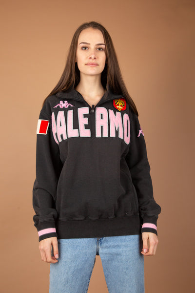 Black quarter zip kappa sweater with pink detailing, Italian flag and a crest on the front. Magichollow