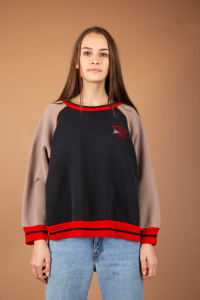 black brown and red crew neck reebok sweater. 80's vintage at magichollow