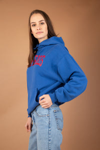 Royal blue with red print across the front, this hoodie is a winter must-have. Baggy fit with a kangaroo-pouch style pocket.
