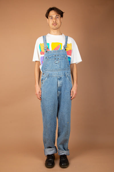mid-wash denim dungarees with Paco Jeans patch on chest and right back pocket