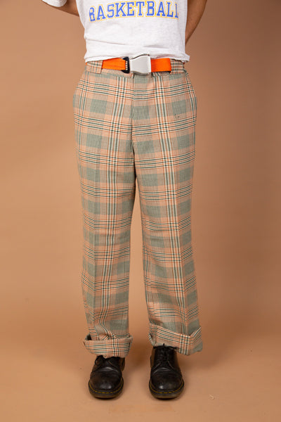 orange and green toned vintage plaid pants
