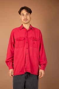 vintage oversized red nautica button up with front pocket detailing