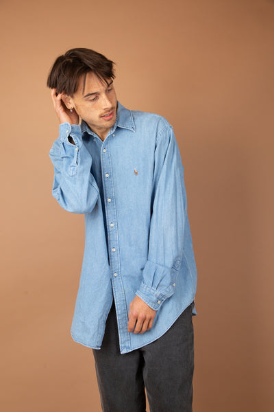tall fit vintage denim ralph lauren button up - magichollow