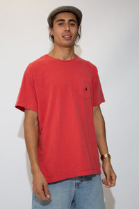 red pocket ralph tee with embroidered emblem on left chest pocket